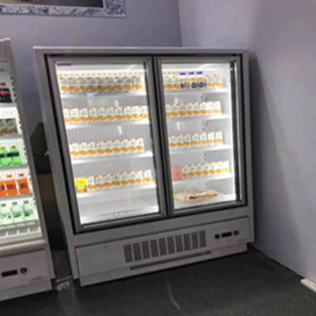 With LED light Two glass door bakery refrigerator display pepsi cola showcase for Supermarket
