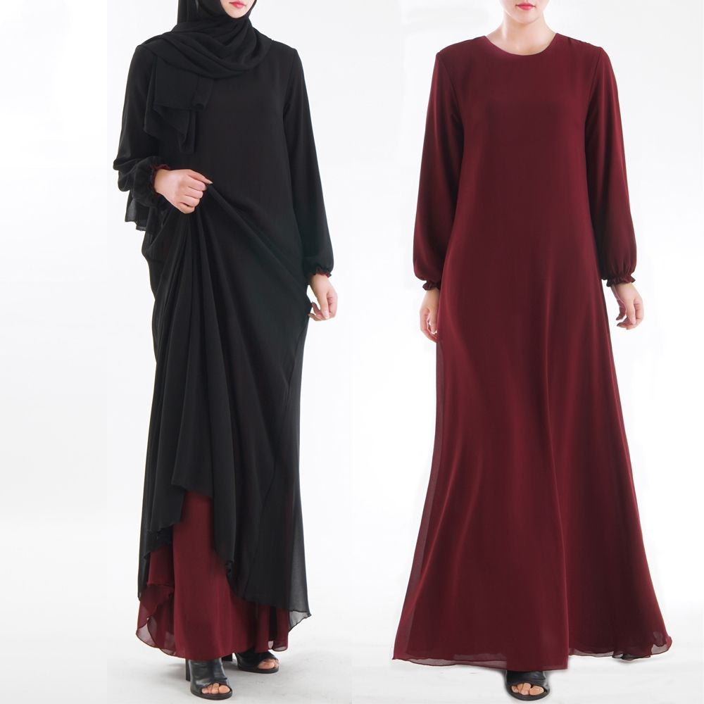 D001 2020 Abaya fashion girl long sleeve maxi dress inside and outside wear muslim dress side pocket abaya