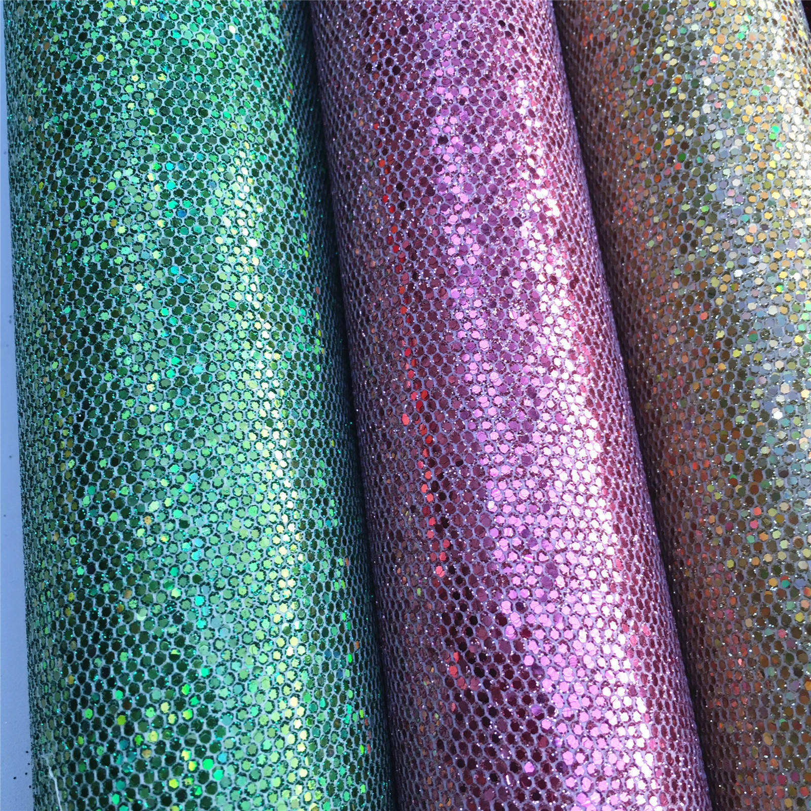 Sparkly Chunky Hexagon Mesh Synthetic Glitter Faux Leather Fabric Sheets For Shoes Bags Bow Crafts Vinyl Material