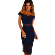 Summer Lace Bardot Midi Dress Sexy Ladies Dress