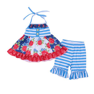 Kids Boutique Clothes Ruffle Outfitsearring Sets Blue Red Floral Girls Capri Sets