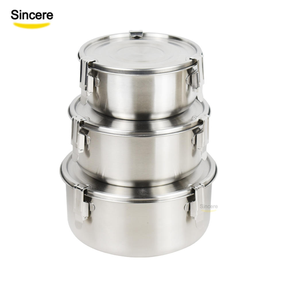Custom LOGO Leakproof 3 Pcs Stainless Steel 304 Round Bento Lunch Box Food Container Snack Storage Box