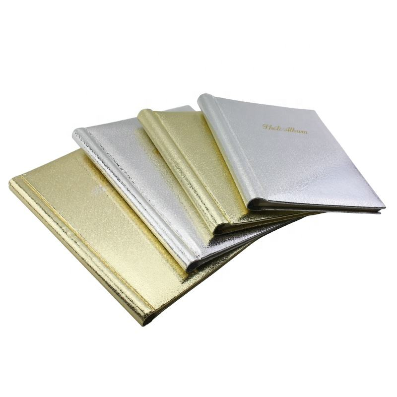 Wholesale Spiral bound paper cover scrapbook photo album self-adhesive 20 sheets self stick silver and gold wedding album