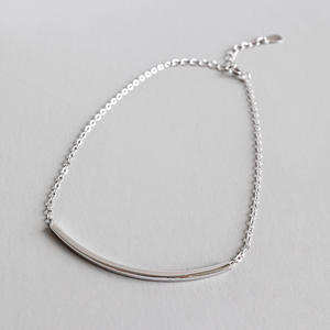 JOFO Handmade 925 Sterling Silver Square Tube Ankle Bracelet Beach Summer Dainty Bar Foot Chain For Girls