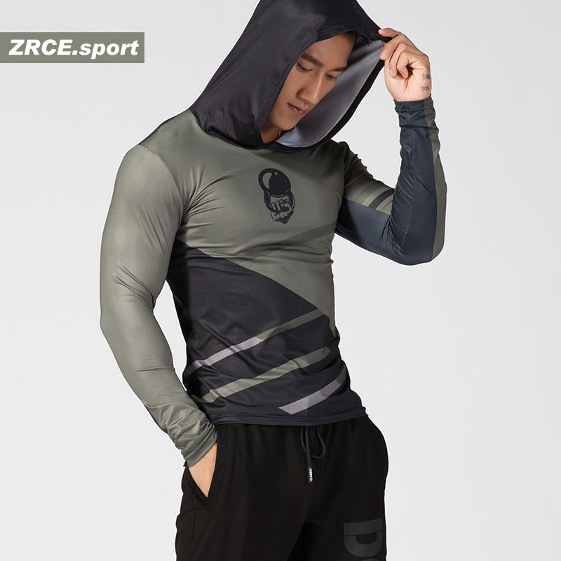 ZRCE Winter High Quality Custom Printed Compression Shirts Male Jogging Cycling Sport Anti-pilling Quick Dry T shirt Hooded tee