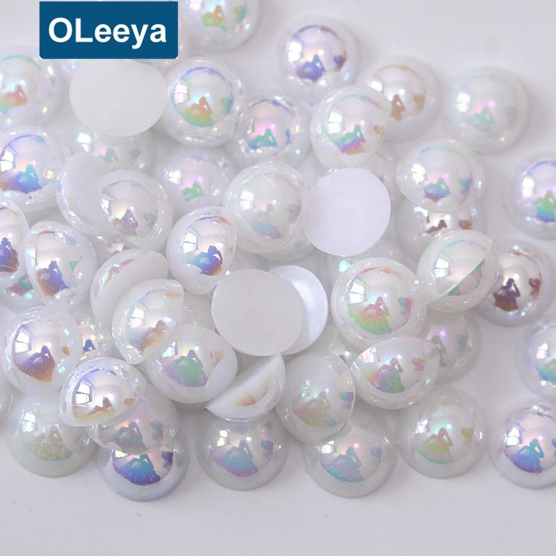 Plastic Pearls Non Hotfix Rhinestone Beads Flat Back 3mm White AB Loose ABS Half Round Faux Pearl Beads for DIY Decoration