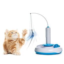 Teaser IQ Training Interactive Cats Kitten Play Toy DIY Funny Rotating Feather Toys