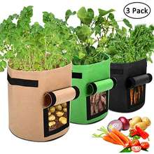 3 Pcs Garden Potato Grow Bags with Flap and Handles Fabric Pots Heavy Duty, 7 Gallon Potato Tomato Planter Bag