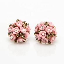 Korean exquisite jewelry ceramic flower earrings stud women colorful small flower ball earrings