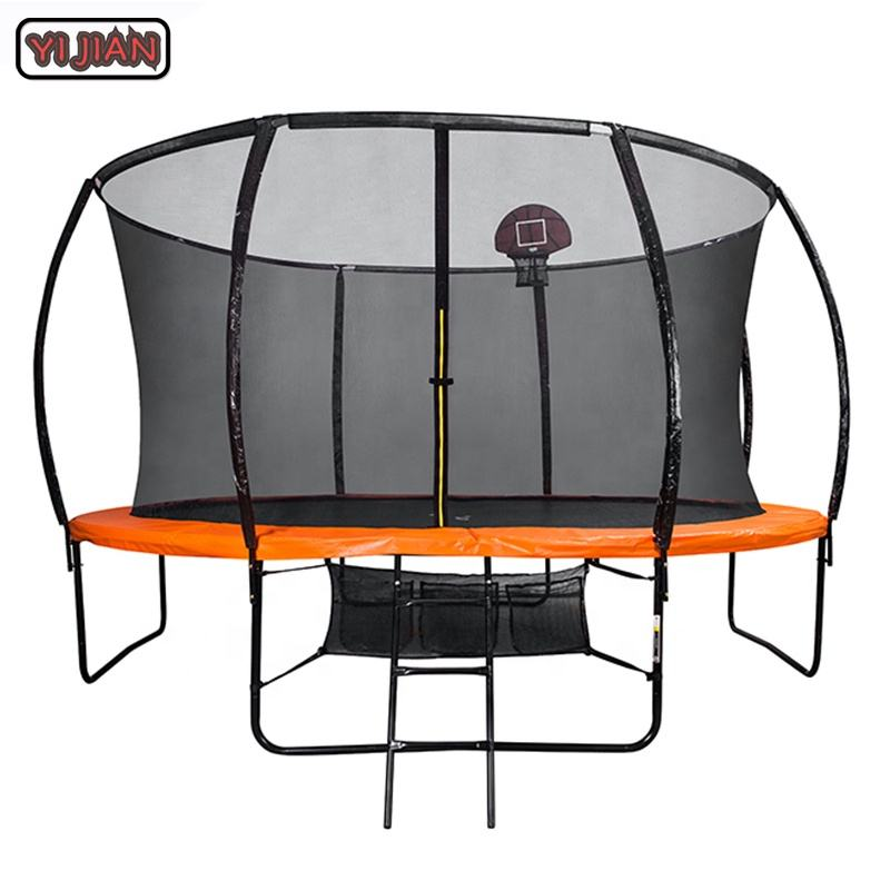 Yijian 14FT kids trampoline with basketball hoop