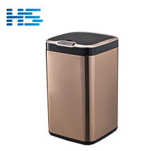 Professional factory 25L gold stainless steel smart public waste bin for indoor