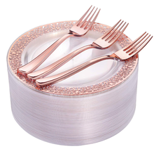 "72 Pieces Rose Gold Dessert Plates 7.5"" & 72 Pieces Disposable Forks 7.4"" BPA free"