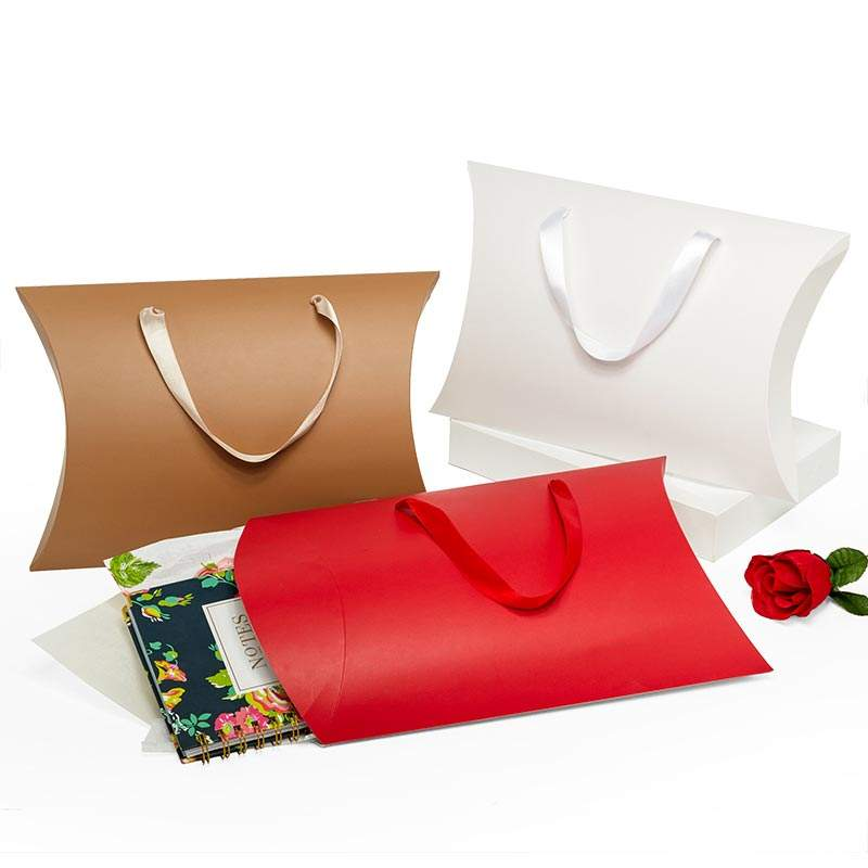 Large paper custom hair packaging box pillow box with ribbon handle