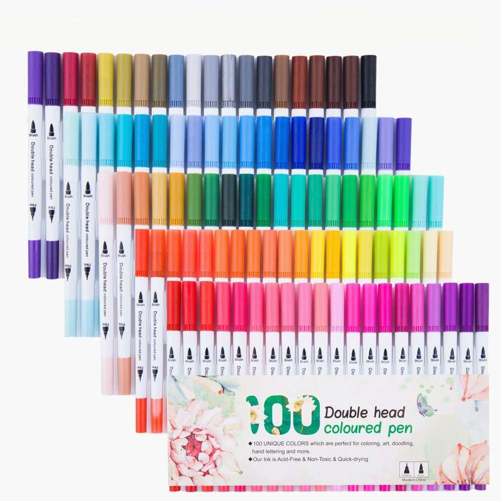 100 Dual Tip Brush Pen Marker Set Flexible Brush & Fineliner Tips - Watercolor Effects - Markers Perfect for Adult Coloring Book