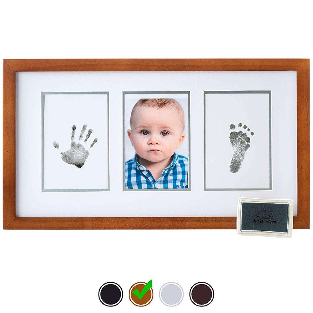 Newborn Baby Handprint Footprint Photo Frame Kit For Gifts Wooden Home Decor