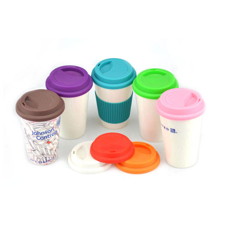 Blank Sublimation cone shape Bone China Coffee Mug with Silicone Lid