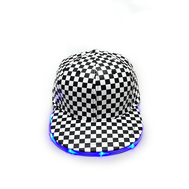 High Quality Unique LED Light Custom Classical Checker Black And White Baseball Dad Hat Snapback Hat