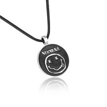 Enamel Smiling Face Inspired From Rock Band Nirvana Necklace With Leather Chain