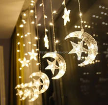 Color moon Star Curtain Lights 2.5M Fairy String Lights Window Home Xmas Decoration