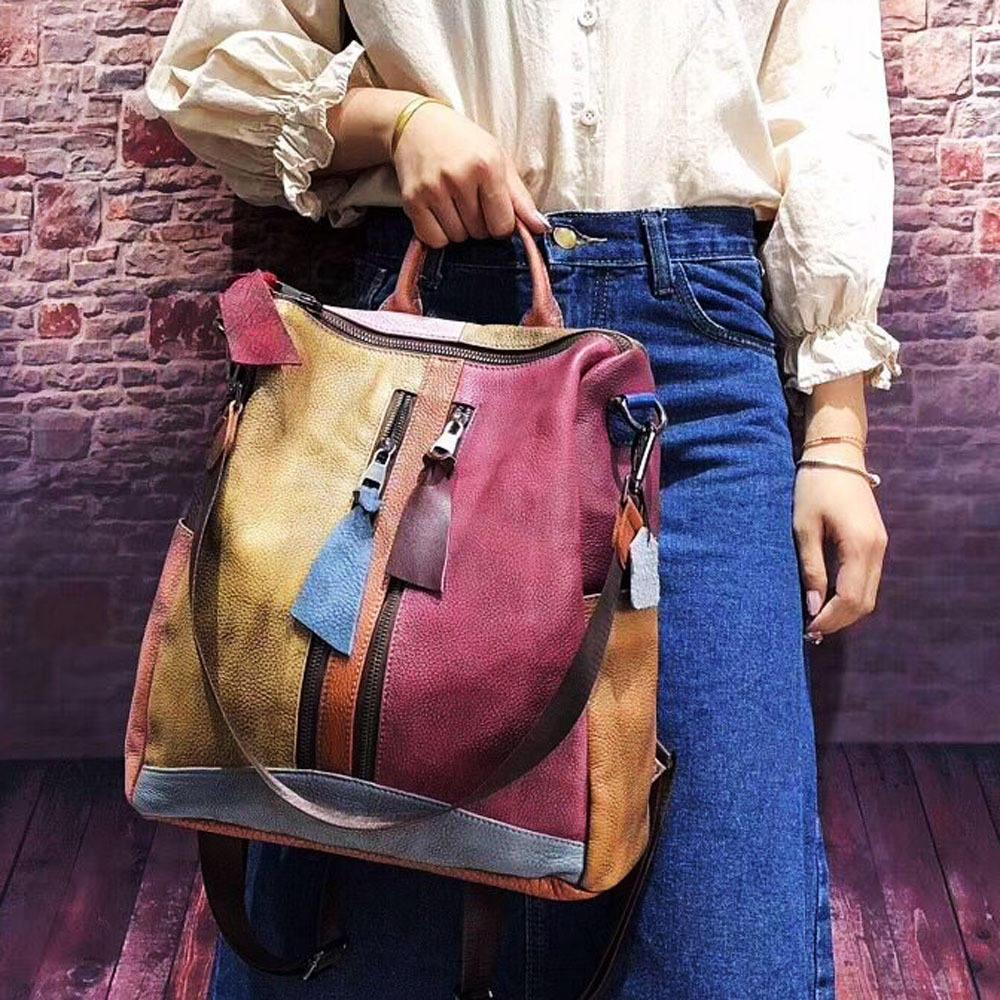 Fashion Women/'s Genuine Real Cow Leather Backpack Shoulder Bag Travel Bag 2Color