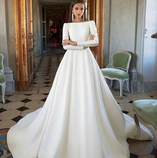 New Custom made Wedding Dress 2019 Soft Satin Button Wedding Dresses Ball Gown Bridal Dresses Full Long Sleeves Wedding Gowns