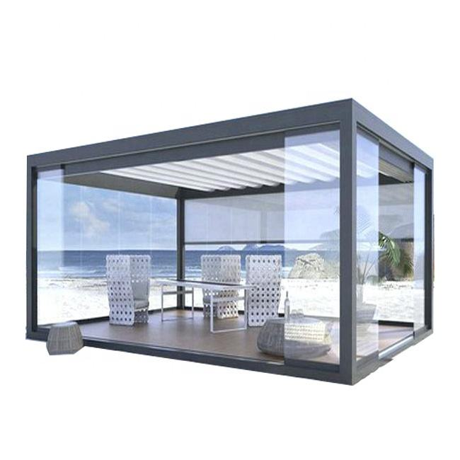 Hot Sale Factory Best Price Motorised Aluminum Garden Pergola Folding Shades For Terraces