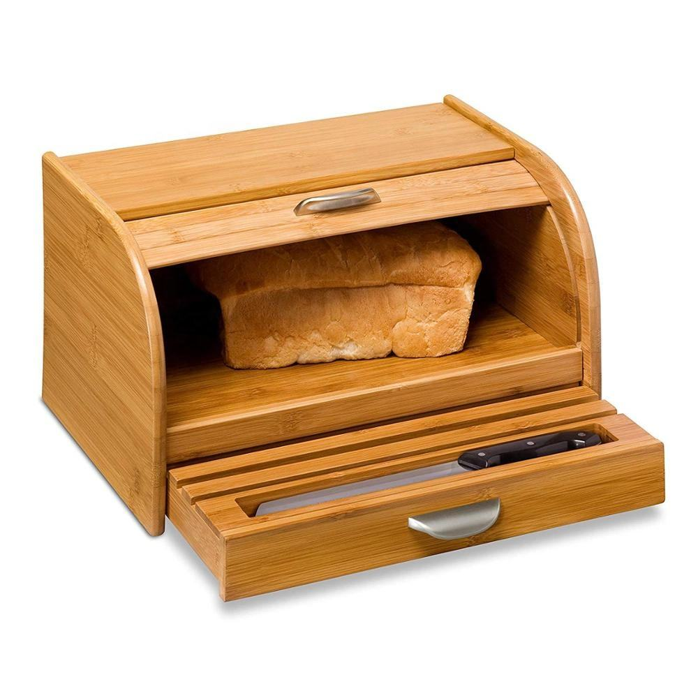 Bamboo pine wood Storage french Bread Box Bin with drawer