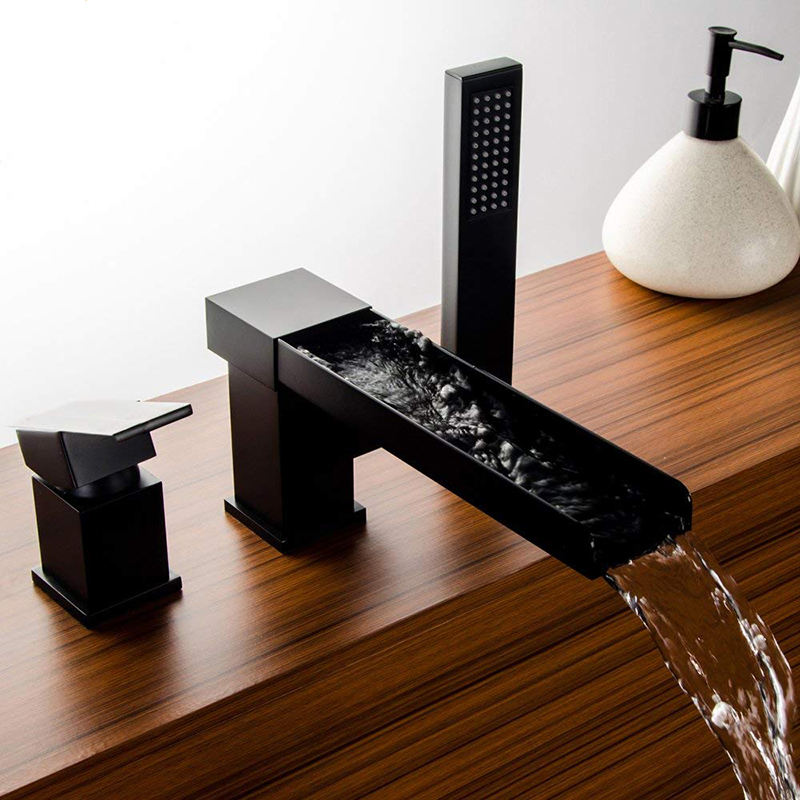 Matte Black Waterfall Bathtub Faucet With Pull Out Hand Shower Single Lever Mixer Tap Waterfall Basin Faucet Tap