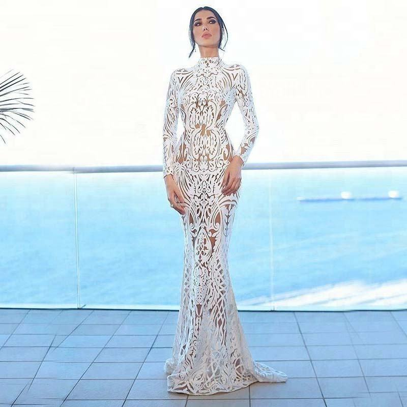 Muslim Arabic Style Gowns Mermaid Long Sleeves Backless Long Party Evening Dress