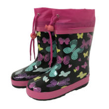 Girls bow print navy warm lining winter rubber wellingtons boots