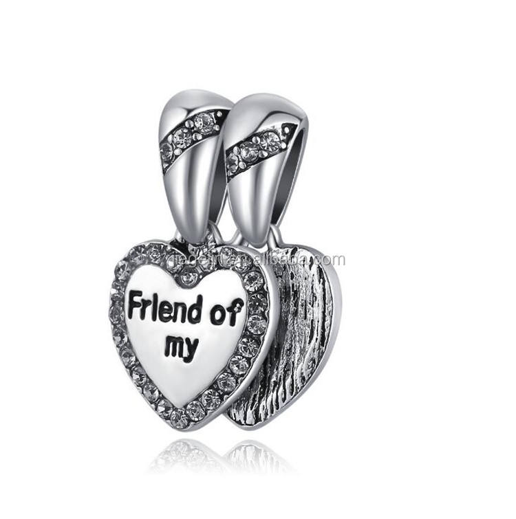 Metal dangle bead friend of my pendant heart charm for bracelet and necklace accessories