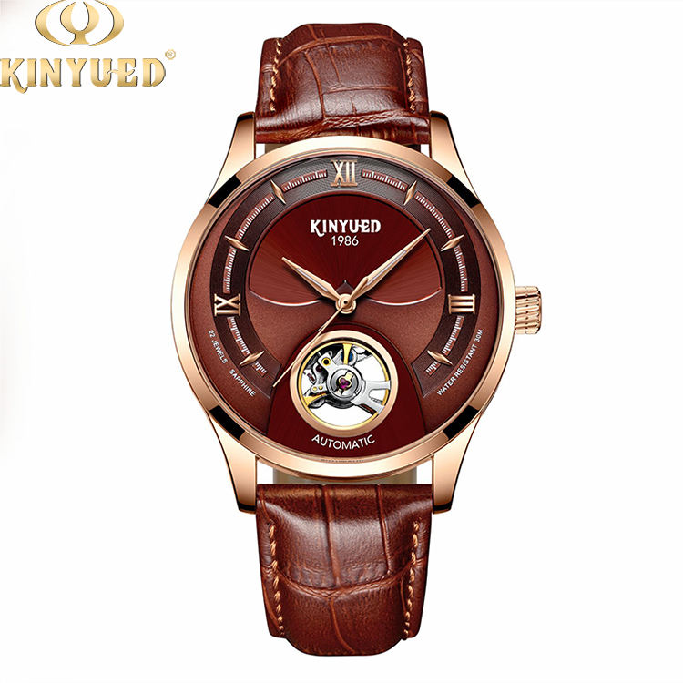 KINYUED factory direct genuine leather band mens watch luminous automatic wristwatch