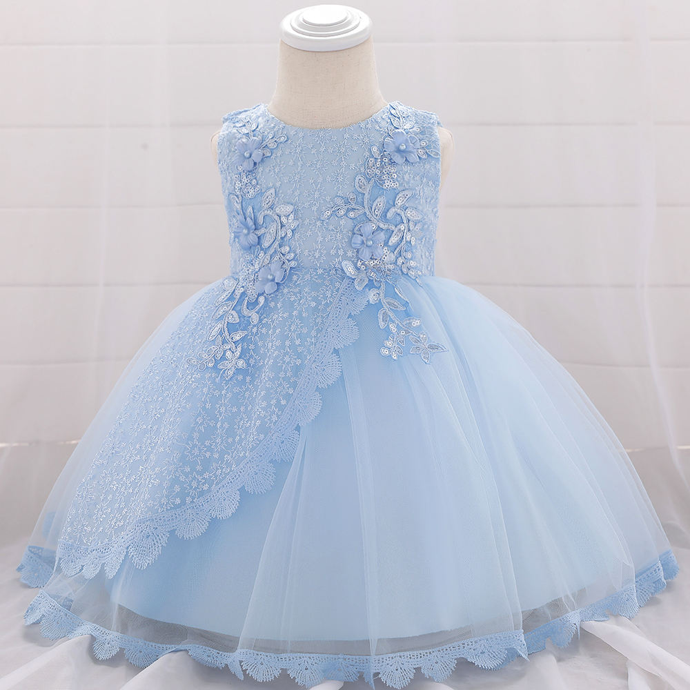 Lace Flower Appliques Newborn Dresses Toddle Girl 1 Year Birthday Party Wedding Frock 0-2 Years Infant Baby Skirt L1902XZ
