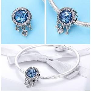 Qings Fashion Heart Charm Pendant Charm 925 Silver Heart Zircon Charm Bead