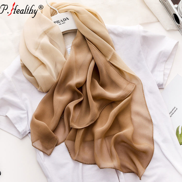 New style 2020 spring summer small size ombre silk georgette scarf for women lady