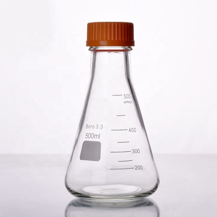 Glass 100ml Erlenmeyer Flask With Screw Cap