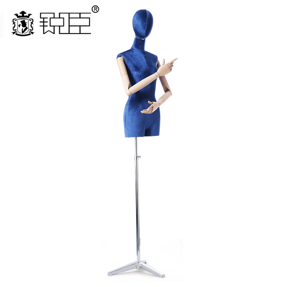 Hat Jewelry Display Rack Model Silk Surface Upper Body Blue Mannequin Mannequins