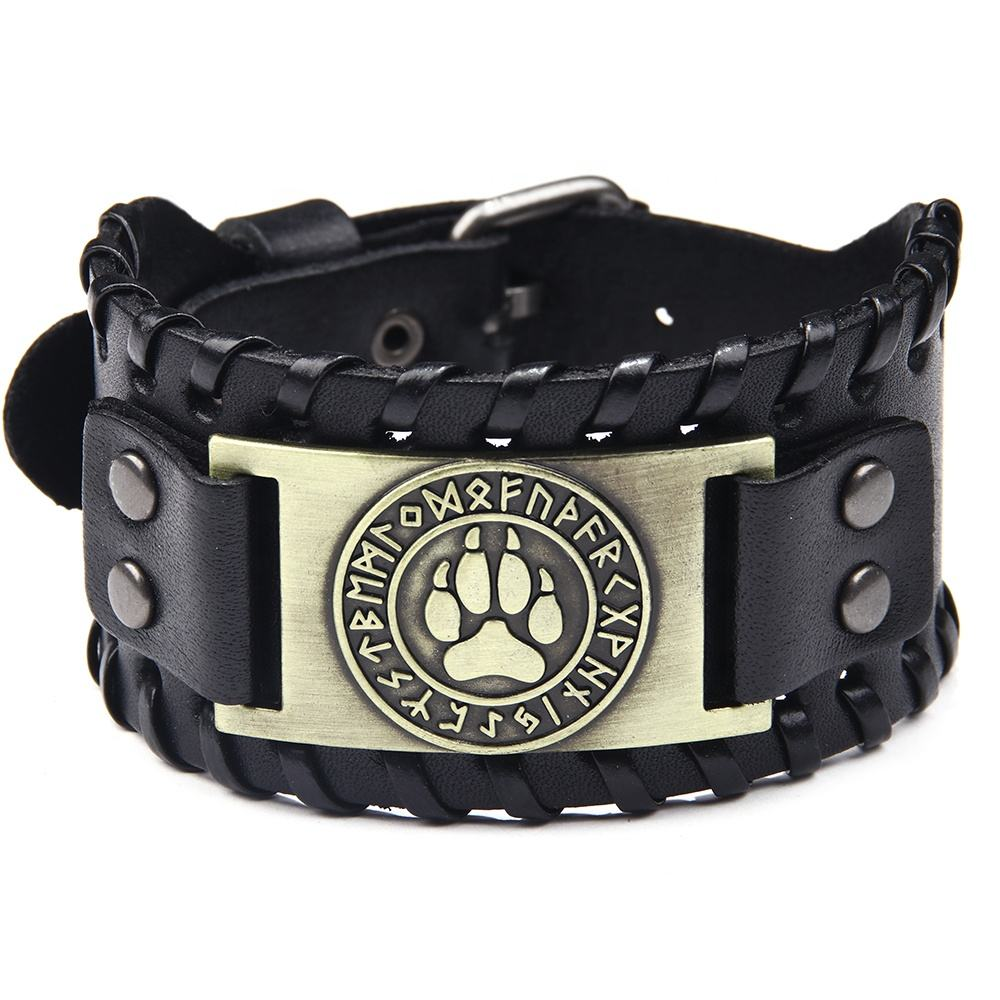 Metal Bear's Paw Charm Embossed Genuine Leather Cuff Bracelet with adjustable buckle