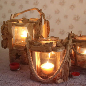 Retro rustic style wood Candlestick wholesale