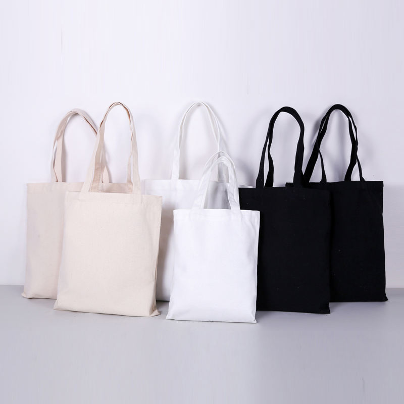Wholesale natural blank custom logo printed reusable cotton canvas tote bag shopping in stock