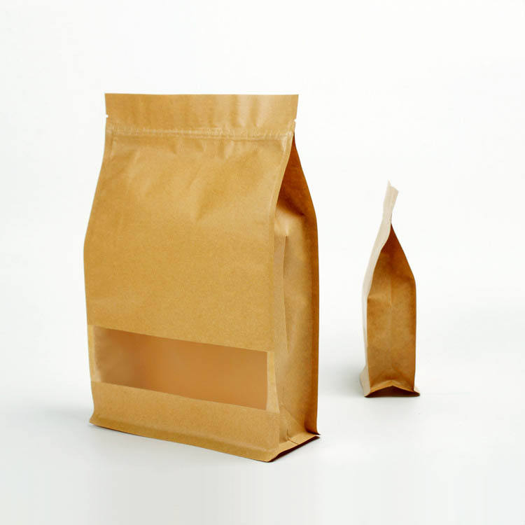 China Square bottom dry food package brown kraft paper ziplock bag with window