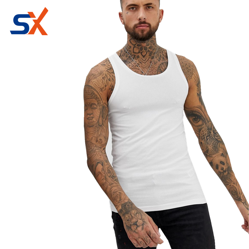 Custom Mens Singlet 100% Cotton breathable Gym Vests Training Tank Top