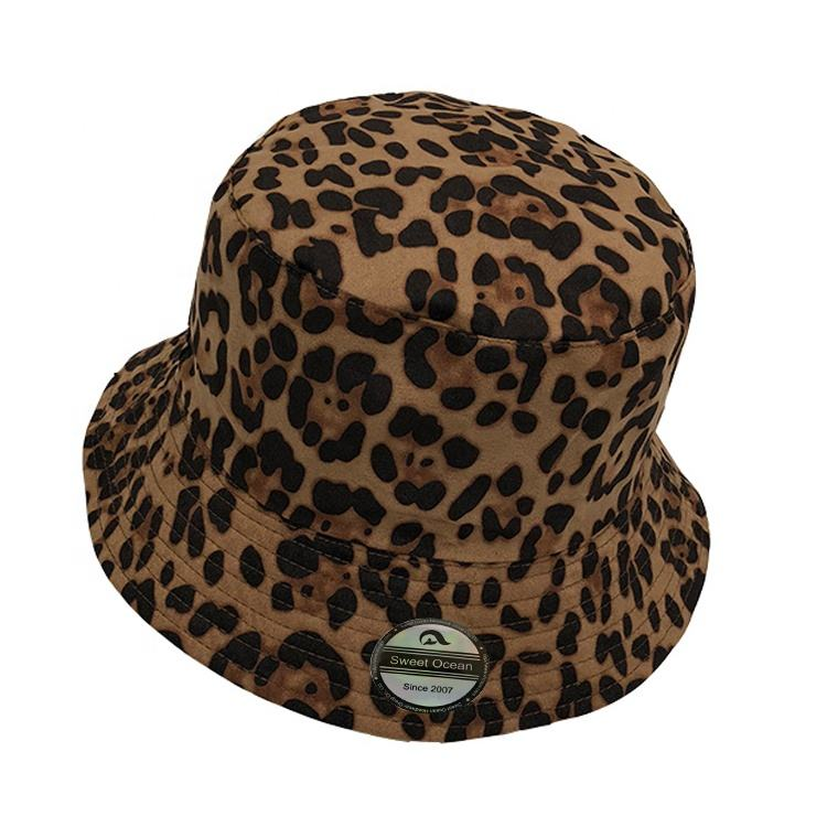 Wholesale 100% Polyester Bucket Hat With Leopard Printed