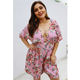 Jumpsuit Women Summer New Listing Plus Size Print Floral Cross Lacing-Up Deep V Neck Sexy Jumpsuit For Women