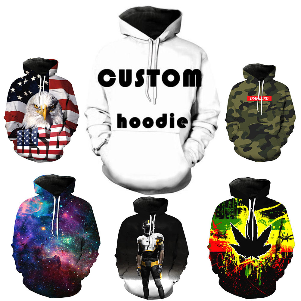 Free Drop Shipping 1 Piece MOQ 3D Printing Men Colors Oversized Hoodie, Flexible Custom Mens Hoodie