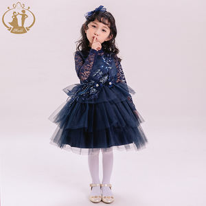 Nimble Girls Wedding Dress Children Floral Lace Princess Evening Party Ball Gown Girl Communion Baby Dress