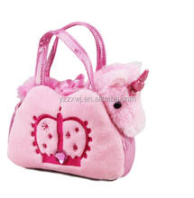 plush unicorn toy with bag PINK UNICORN MYTHICAL CREATURE STUFFED ANIMAL IN PINK CROWN BAG plush unicorn into bag