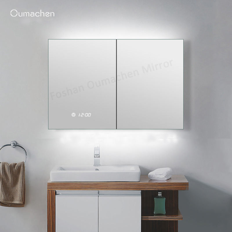 Factory price small bathroom make up cabinet mirrored LED stainless steel cabinet with touch sensor switch
