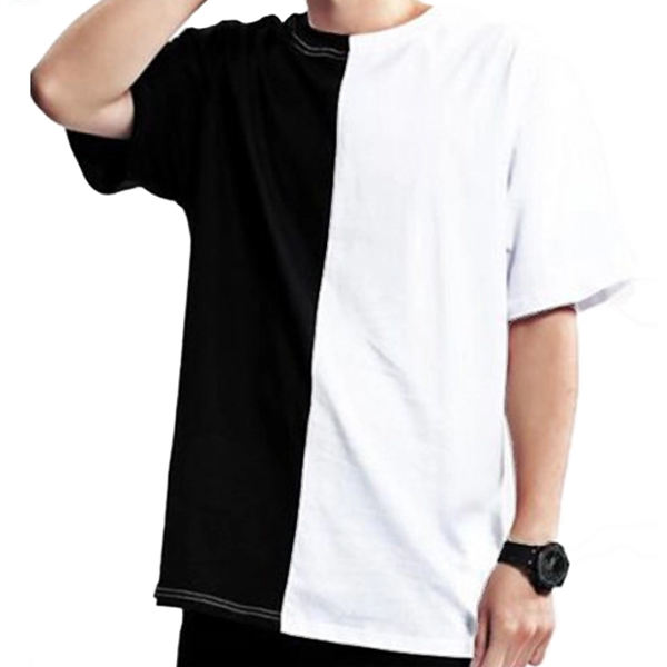 New Style Hip Hop T Shirt Men Plain Custom Two Tone Block Shirts Wholesale