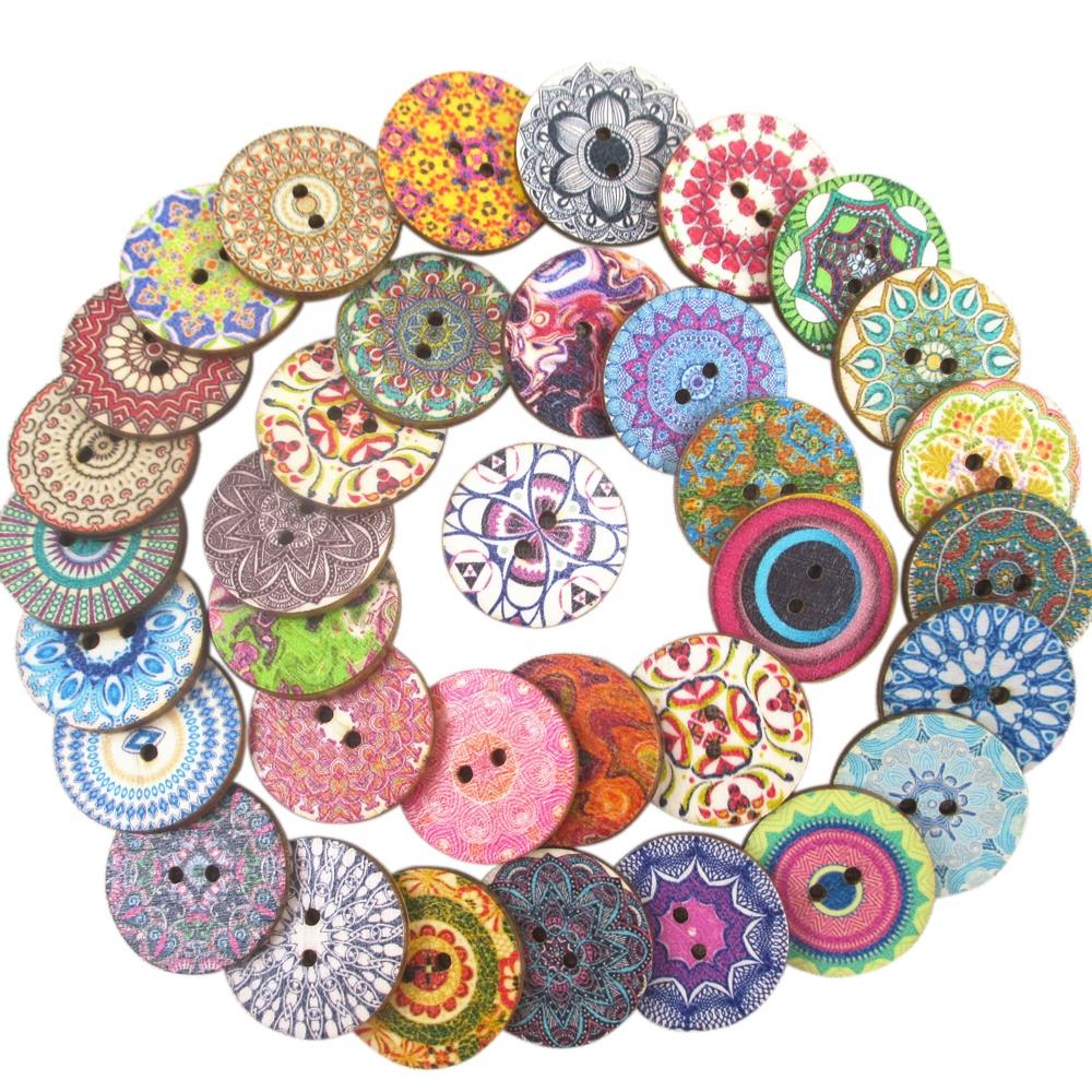 25*25 mm Wholesale Mix Round Natural Wooden Button For Craft 49989